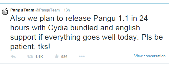 pangu message about Cydia Installer