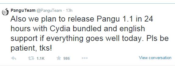 pangu message about Cydia Installer