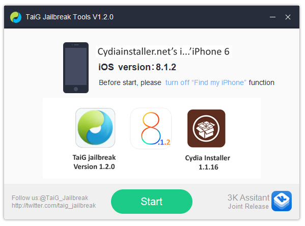 Cydia Download for iOS 8.1.2 - Download TaiG 1.2.0